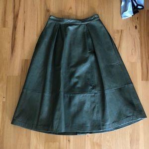 Elizabeth and James Skirts - Elizabeth & James olive leather midi skirt